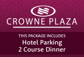 Crowne Plaza with 2-course meal and parking at the hotel